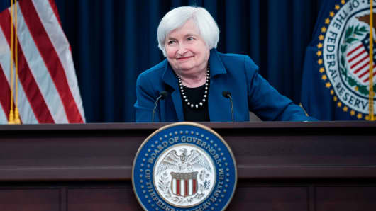 Federal Reserve Board Chairman Janet Yellen speaks during a briefing on March 15, 2017 in Washington, DC.