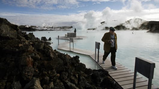 The geothermal hot springs at Iceland's Blue Lagoon near Grindavik, Iceland