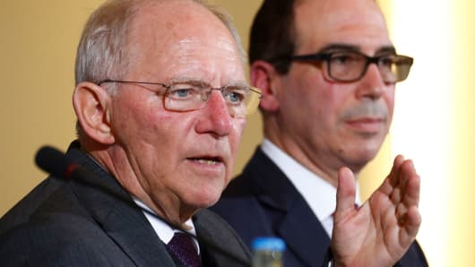 Mnuchin is in favor of open trade, Schaeuble says, despite Trump's 'America First' agenda