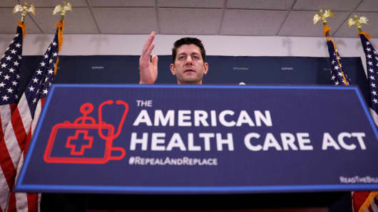 Speaker of the House Paul Ryan speaks to the media about the American Health Care Act at the Capitol in Washington, D.C., March 15, 2017.