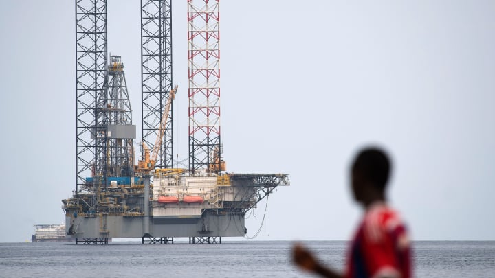 An off-shore oil rig, off the coast of Port-Gentil in Gabon.