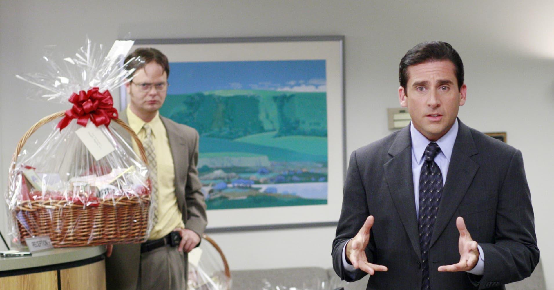 Rainn Wilson as Dwight Schrute and Steve Carell as Michael Scott on The Office.