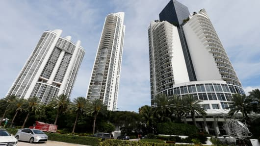 From left, the Trump Royale, The Trump Palace and the Trump International Beach Resort are shown in Sunny Isles Beach, Florida, U.S. March 13, 2017.