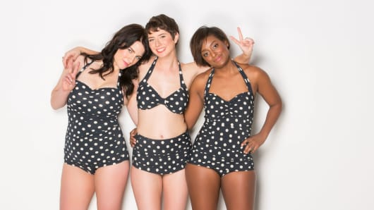 ModCloth employees model swimwear range to promote body positivity.