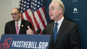 US Health and Human Services Secretary Tom Price speaks at a press conference with House Republicans to discuss healthcare reform, on Capitol Hill in Washington, DC, on March 17, 2017.