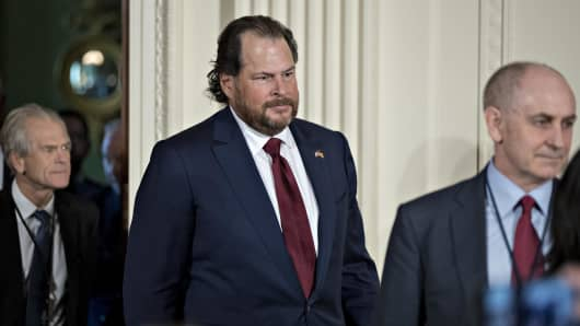 Marc Benioff, co-founder and chief executive officer of Salesforce.com Inc., center, arrives to a news conference with U.S. President Donald Trump and Angela Merkel, Germany's chancellor, not pictured, in the East Room of the White House in Washington, D.C., U.S., on Friday, March 17, 2017.