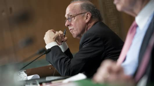Stephen Roach, senior fellow at Yale University's Jackson Institute of Global Affairs, testifies at a Senate Banking, Housing and Urban Affairs Security and International Trade and Finance Subcommittee hearing.