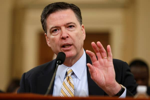 FBI Director James Comey testifies before the House Intelligence Committee hearing into alleged Russian meddling in the 2016 U.S. election, on Capitol Hill in Washington, U.S., March 20, 2017.