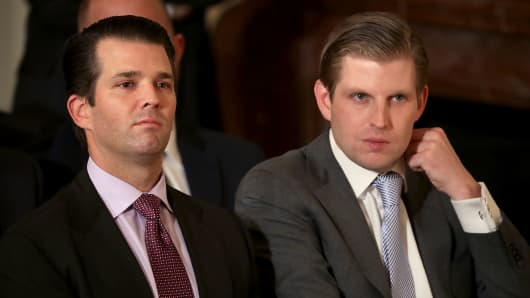 Donald Trump Jr. (L) and Eric Trump, sons of U.S. President Donald Trump.