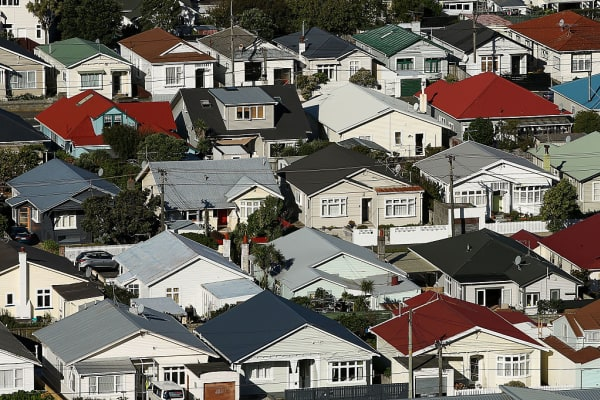 A general view of houses in the suburb of Lyall Bay on April 9, 2016 in Wellington, New Zealand.