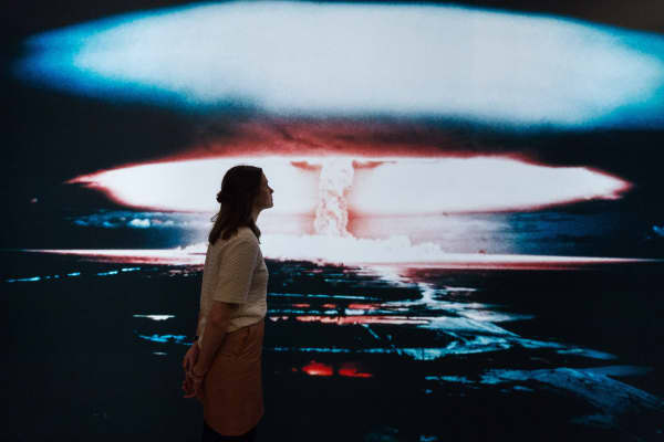 A photograph of a British nuclear weapons test over Christmas Island in the 1950s at the Imperial War Museum in London.