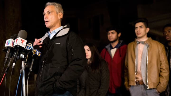 Mayor Rahm Emanuel speaks with members of the press after hosting a dinner at his home with immigrant students on Tuesday, Jan. 31, 2017 in Chicago, IL.
