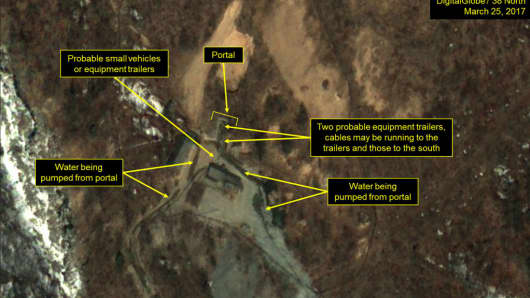 Satellite imagery of the Punggye-ri nuclear test site in North Korea on Mar. 25, 2017.