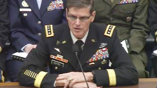 Gen. Joseph Votel, Commander of the US Central Command, testifying Wednesday to the House Armed Services Committee about the security challenges in the Greater Middle East.