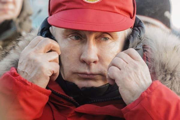 Russian President Vladimir Putin arrives in Alexandra Land of the Franz Josef Land Archipelago on March 29, 2017 in Arkhangelsk, Russia.