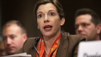 Then-Deputy Assistant Secretary of Defense for Russia/Ukraine/Eurasia Evelyn Farkas testifies during a hearing before the Senate Foreign Relations Committee May 6, 2014.