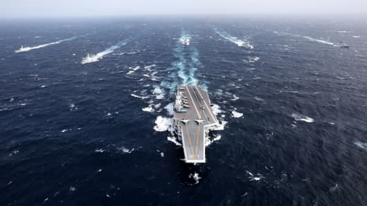 Chinese aircraft carrier fleet operates during a training exercise in the South China Sea last December.