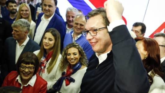 Serbian President-elect Aleksandar Vucic (R) celebrates after declaring a victory on April 2, 2017 in Belgrade, Serbia.