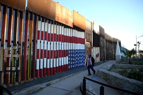 A view of the US-Mexican border fence at Playas de Tijuana on January 27, 2017 in Tijuana, Mexico.