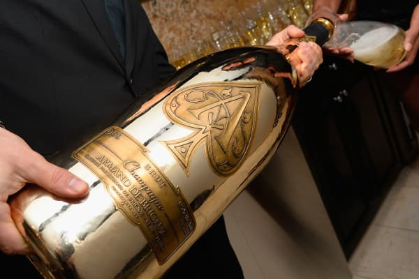 A bottle of Armand de Brignac is poured during the Roc Nation Latin Grammy midnight brunch at the Nobu Hotel Caesar's Palace, Las Vegas, on November 16, 2016