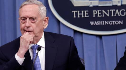 U.S. Defense Secretary James Mattis briefs the media at the Pentagon in Washington, U.S., April 11, 2017.