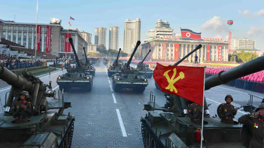 North Korean military participate in the celebration of the 70th anniversary of the founding of the ruling Workers' Party of Korea.