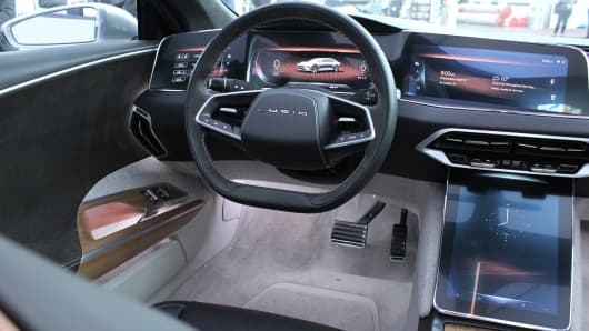 The interior of a Lucid Air on display at the New York Auto Show on April 13, 2017.