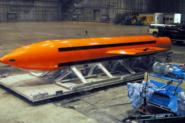 This U.S. Department of Defense (DoD) handout photo shows the Massive Ordinance Air Blast (MOAB) weapon.