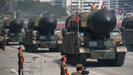 An unidentified rocket is displayed during a military parade marking the 105th anniversary of the birth of late North Korean leader Kim Il-Sung in Pyongyang on April 15, 2017.