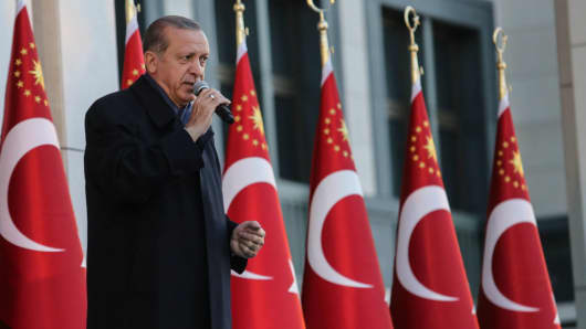 Turkish President Recep Tayyip Erdogan gives a referendum victory speech to his supporters at the Presidential Complex in Ankara, Turkey.