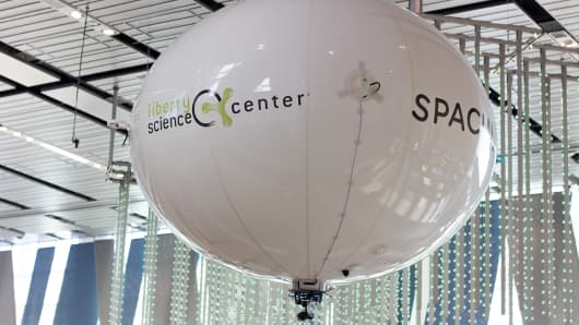 "The Spacial ""Halo"" floats in New Jersey's Liberty Science Center during the New York City Drone Film Festival Day of Drones."