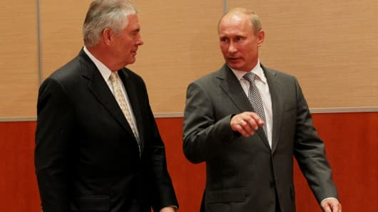 File photo of Russian President, Vladimir Putin (R) and Rex Tillerson (L), then-Chairman and CEO of Exxon Mobil during a signing ceremony for an arctic oil exploration deal between Exxon Mobil and Rosneft on August, 30, 2011 in Sochi, Russia.