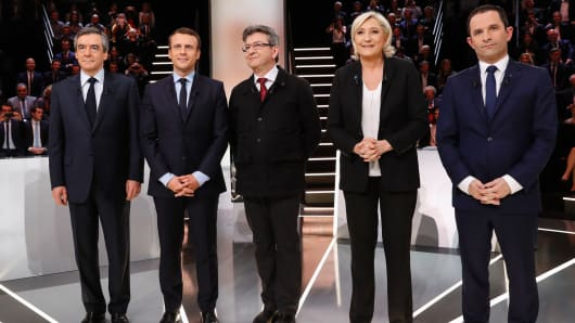 (LtoR) French presidential election candidates, right-wing Les Republicains (LR) party Francois Fillon, En Marche ! movement Emmanuel Macron, far-left coalition La France insoumise Jean-Luc Melenchon, far-right Front National (FN) party Marine Le Pen, and
