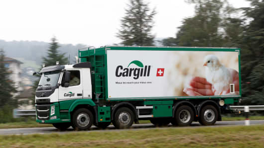 A Cargill logo is pictured on a truck transporting Provimi Kliba and Protector animal nutrition products near the factory in Lucens, Switzerland, September 22, 2016.