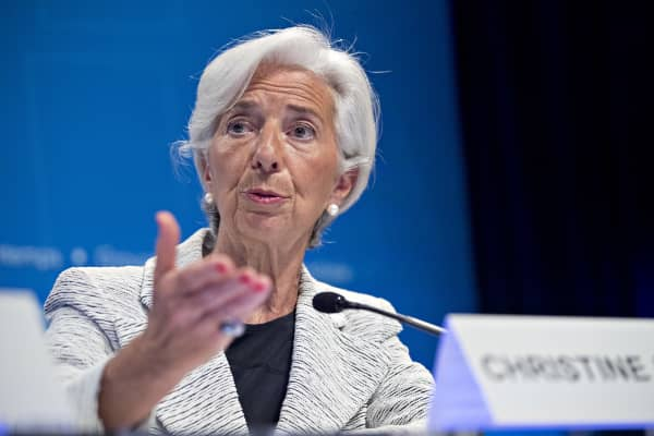 Christine Lagarde, managing director of the International Monetary Fund (IMF), speaks during a news conference at the spring meetings of the IMF and World Bank in Washington, D.C., U.S., on Thursday, April 20, 2017.