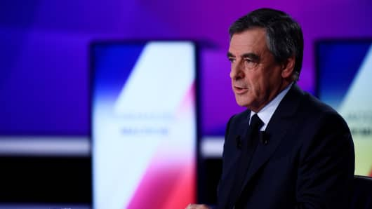 French presidential candidate Francois Fillon takes part in a political television show entitled '15mn to convince' in Paris, France, on April 20, 2017.