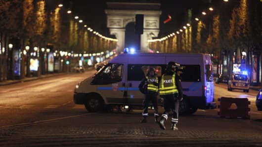 French security forces cordon the area after a gunman attack, killing a police officer at Champs Elysees in Paris, France on April 20, 2017.