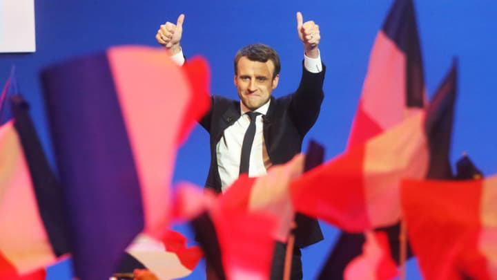 Emmanuel Macron speaks, after victory has been declared, at a mass meeting of his supporters, Stadium at Porte de Versailles on April 23, 2017 in Paris, France.