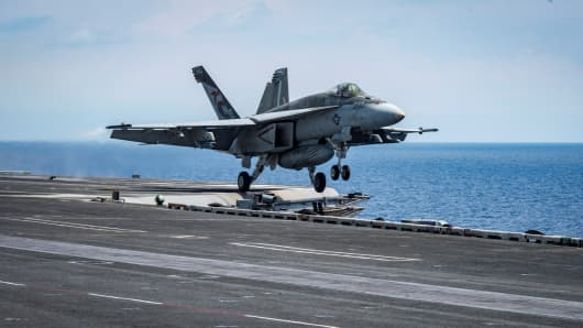 "An F/A-18E Super Hornet from the ""Kestrels"" of Strike Fighter Squadron (VFA) 137 takes off from the USS Carl Vinson (CVN 70) transiting the South China Sea April 10, 2017."