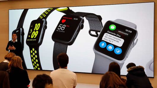 A signage for the Apple Watch is displayed in the Apple store in Saint Germain, Paris, France on December 1, 2016.