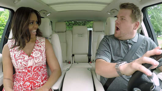 Former First Lady Michelle Obama joins James Corden for Carpool Karaoke on 'The Late Late Show with James Corden,' Wednesday, July 20th 2016.
