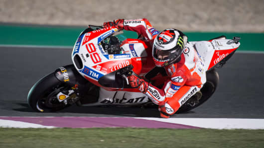 Jorge Lorenzo of Spain rides Ducati for Ducati Team during a practice session at the Grand Prix of Qatar on March 23, 2017 in Doha, Qatar.