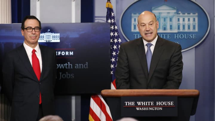 U.S. National Economic Director Gary Cohn (R) and Treasury Secretary Steven Mnuchin unveil the Trump administration's tax reform proposal in the White House briefing room in Washington, U.S, April 26, 2017.