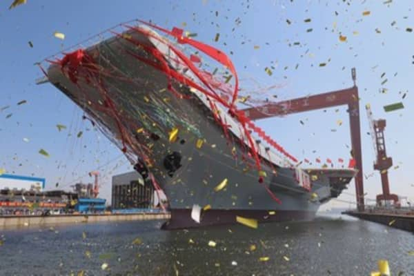 Beijing just launched its first-ever completely Chinese-made aircraft carrier