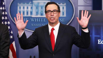 Treasury Secretary Steven Mnuchin ends a briefing after unveiling the Trump administration's tax reform proposal in the White House briefing room in Washington, April 26, 2017.