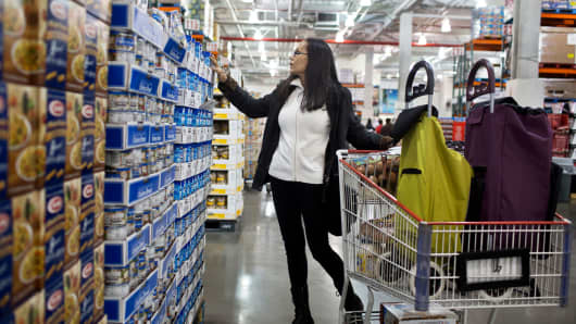 A customer browses goods at a Costco Wholesale store in New York.