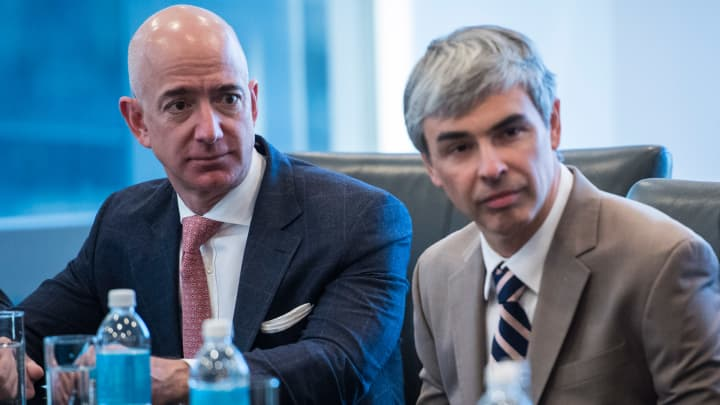 Amazon CEO Jeff Bezos and Alphabet CEO Larry Page.