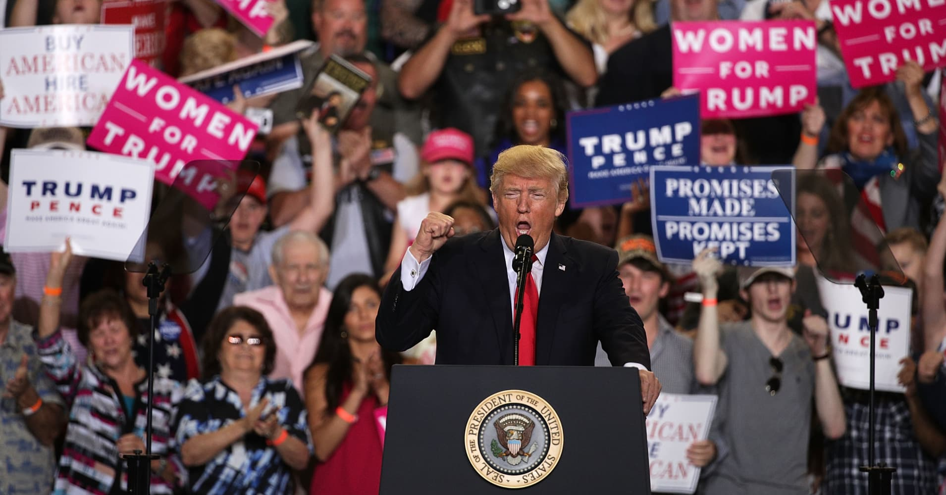 Trump hammers the media, defends his record in 100 days Pennsylvania rally