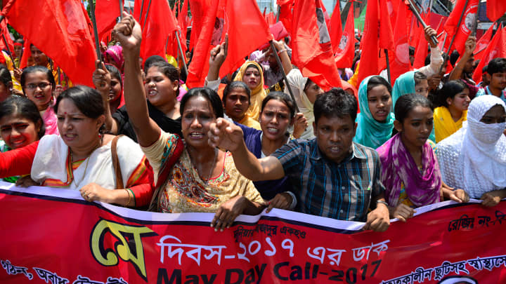 Bangladeshi garment workers and other worker organization activities par take part in a rally to mark May Day or International Workers Day in Dhaka, Bangladesh. On May 01, 2017.