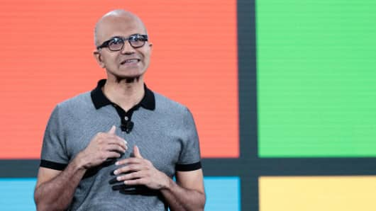Satya Nadella, chief executive officer of Microsoft, speaks during a Microsoft launch event to introduce the new Microsoft Surface laptop and Windows 10 S operating system, May 2, 2017 in New York City.
